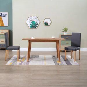 Cadeiras de jantar 2 pcs couro artificial cinzento - PORTES GRÁTIS