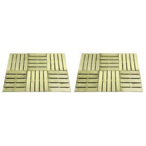 Pavimento Para Pátios -Varandas - Piscina 12 pcs 50x50 cm madeira verde - PORTES GRÁTIS