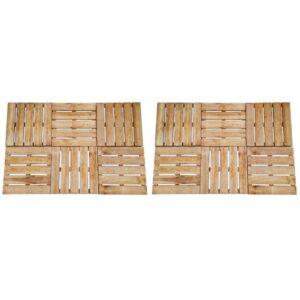 Pavimento Para Pátios -Varandas - Piscina 12 pcs 50x50 cm madeira castanho - PORTES GRÁTIS