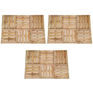 Pavimento Para Pátios -Varandas - Piscina 18 pcs 50x50 cm madeira castanho - PORTES GRÁTIS