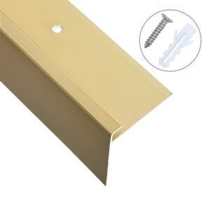Perfil p/ escada em forma de F 15 pcs alumínio 100 cm dourado - PORTES GRÁTIS