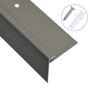 Perfil p/ escada em forma de F 15 pcs alumínio 90 cm castanho - PORTES GRÁTIS