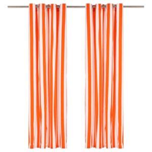 Cortinas c/ argolas metal 2pcs tecido 140x245 cm riscas laranja - PORTES GRÁTIS
