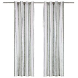 Cortinas c/ argolas metal 2 pcs algodão 140x225 cm riscas verde - PORTES GRÁTIS