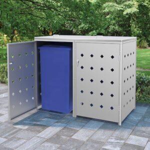 Abrigo duplo para caixotes do lixo 240 L aço inoxidável - PORTES GRÁTIS