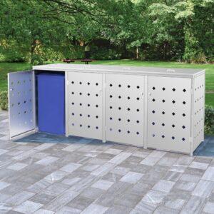 Abrigo quádruplo para caixotes do lixo 240 L aço inoxidável - PORTES GRÁTIS