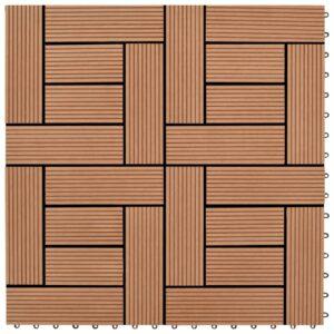 Pavimento Para Pátios -Varandas -WC - Piscina - Spa 22 pcs WPC 2m² 30x30 cm castanho - PORTES GRÁTIS