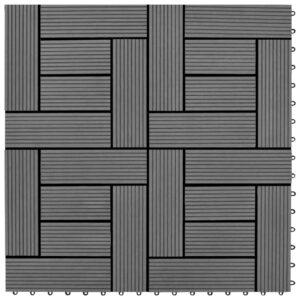 Pavimento Para Pátios -Varandas -WC Piscina - Spa 22 pcs WPC 2m² 30x30 cm cinzento - PORTES GRÁTIS