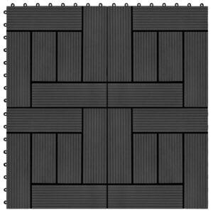 Pavimento Para Pátios -Varandas -WC - Piscina - Spa 22 pcs WPC 2m² 30x30 cm preto - PORTES GRÁTIS