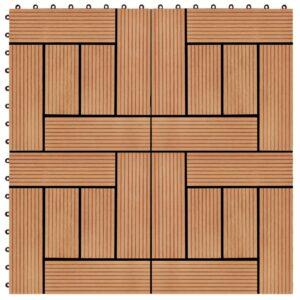 Pavimento Para Pátios -Varandas -WC - Piscina - Spa 22 pcs WPC 2m² 30x30 cm cor teca - PORTES GRÁTIS