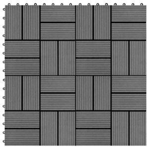 Pavimento Para Pátios -Varandas -WC - Piscina - Spa 22 pcs WPC 2m² 30x30 cm cinzento - PORTES GRÁTIS