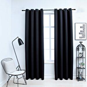 Cortinas blackout com argolas em metal 2 pcs 140x225 cm preto - PORTES GRÁTIS