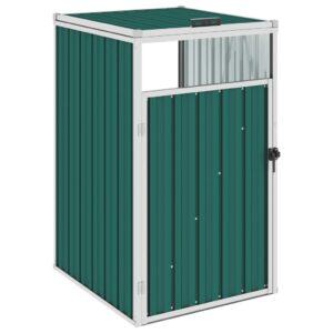 Abrigo para caixote do lixo 72x81x121 cm aço verde - PORTES GRÁTIS
