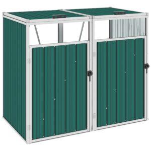 Abrigo para caixote do lixo duplo 143x81x121 cm aço verde - PORTES GRÁTIS