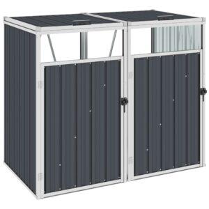 Abrigo para caixote do lixo duplo 143x81x121 cm aço antracite - PORTES GRÁTIS