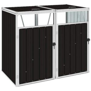 Abrigo para caixote do lixo duplo 143x81x121 cm aço castanho - PORTES GRÁTIS