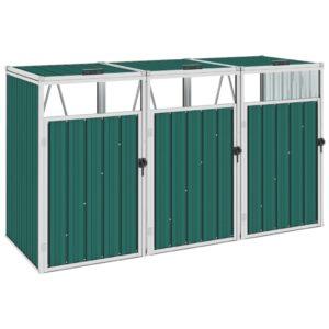Abrigo para caixote do lixo triplo 213x81x121 cm aço verde - PORTES GRÁTIS