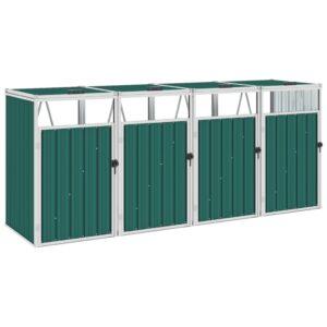 Abrigo para caixote do lixo quadruplo 286x81x121 cm aço verde - PORTES GRÁTIS