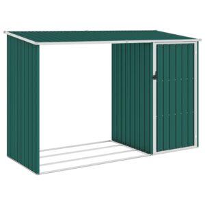 Abrigo de lenha para jardim 245x98x159 cm aço galvanizado verde - PORTES GRÁTIS