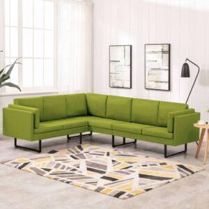 Sofá de canto tecido verde - PORTES GRÁTIS