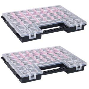 Caixas com divisórias ajustáveis 2 pcs 385x283x50 mm plástico - PORTES GRÁTIS