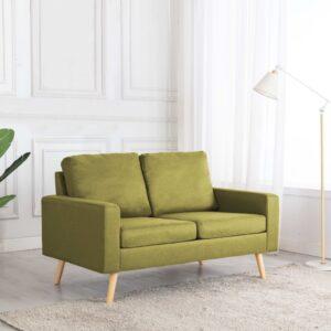 Sofá de 2 lugares tecido verde - PORTES GRÁTIS