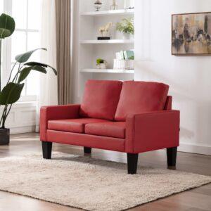 Sofá de 2 lugares couro artificial vermelho - PORTES GRÁTIS