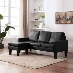 Sofá de 3 lugares com apoio de pés couro artificial preto - PORTES GRÁTIS