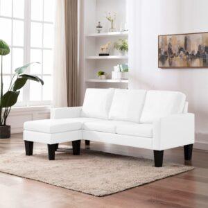 Sofá de 3 lugares com apoio de pés couro artificial branco - PORTES GRÁTIS