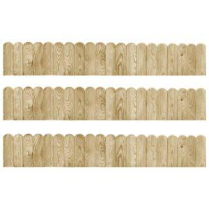 Bordaduras em rolo 3 pcs 120 cm madeira de pinho impregnada - PORTES GRÁTIS