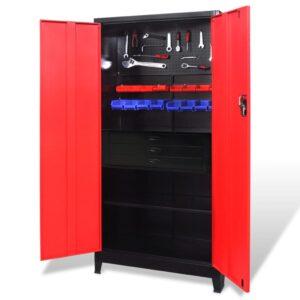 Armário de ferramentas 90x40x180 cm vermelho e preto - PORTES GRÁTIS