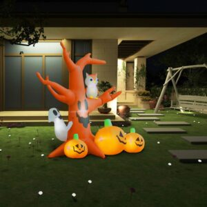 Halloween Árvore Fantasma Insuflável c/ Abóboras 6 LED 2,6 m - PORTES GRÁTIS