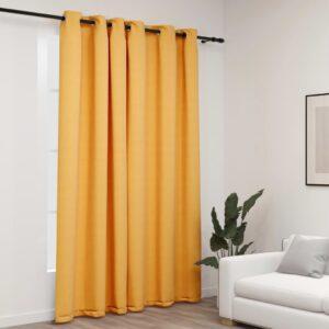 Cortina opaca aspeto de linho com ilhós 290x245 cm amarelo - PORTES GRÁTIS