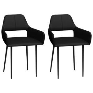 Cadeiras de jantar 2 pcs couro artificial preto  - PORTES GRÁTIS