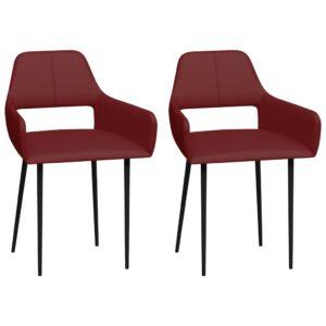 Cadeiras de jantar 2 pcs couro artificial vermelho tinto - PORTES GRÁTIS