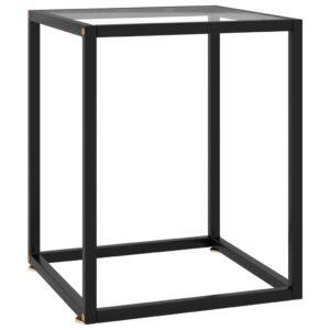 Mesa de centro 40x40x50 cm preto com vidro temperado - PORTES GRÁTIS