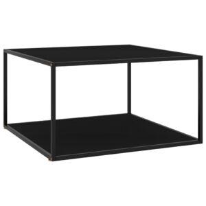 Mesa de centro 90x90x50 cm preto com vidro preto - PORTES GRÁTIS