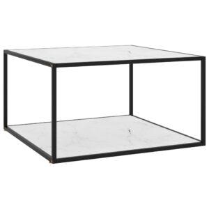Mesa de centro 90x90x50 cm preto com vidro marmorizado branco - PORTES GRÁTIS