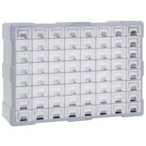 Caixa organizadora com 64 gavetas 52x16x37,5 cm - PORTES GRÁTIS