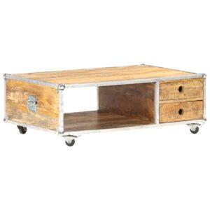 Mesa de centro 89x59x33 cm madeira de mangueira áspera maciça - PORTES GRÁTIS