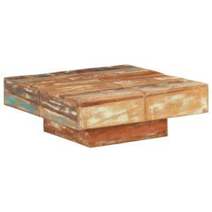 Mesa de centro 80x80x28 cm madeira recuperada maciça - PORTES GRÁTIS