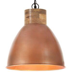 Candeeiro teto industrial 46cm E27 ferro cobre e madeira maciça - PORTES GRÁTIS