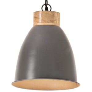 Candeeiro teto industrial 23cm E27 ferro cinza e madeira maciça - PORTES GRÁTIS