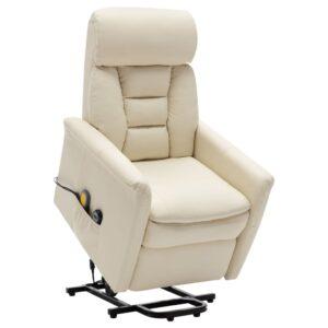 Poltrona massagens reclinável elevatória couro art. branco nata - PORTES GRÁTIS