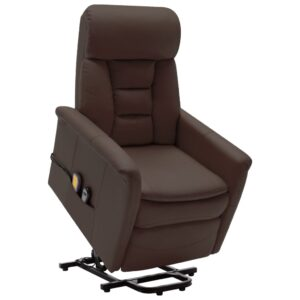 Poltrona massagens reclinável elevatória couro artif. castanho - PORTES GRÁTIS