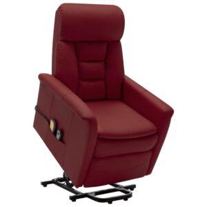 Poltrona massagens reclin. elevatória couro art. vermelho tinto - PORTES GRÁTIS