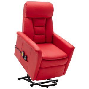 Poltrona massagens reclinável elevatória couro artif. vermelho - PORTES GRÁTIS