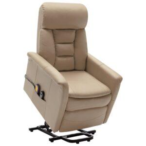 Poltrona massagens reclinável elevatória couro arti. cappuccino - PORTES GRÁTIS