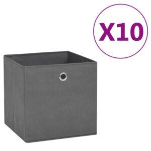 10 Caixas arrumação tecido-não-tecido 28x28x28 cm cinzento - PORTES GRÁTIS
