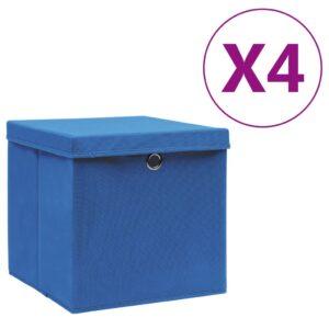 4 Caixas de arrumação com tampas 28x28x28 cm azul - PORTES GRÁTIS